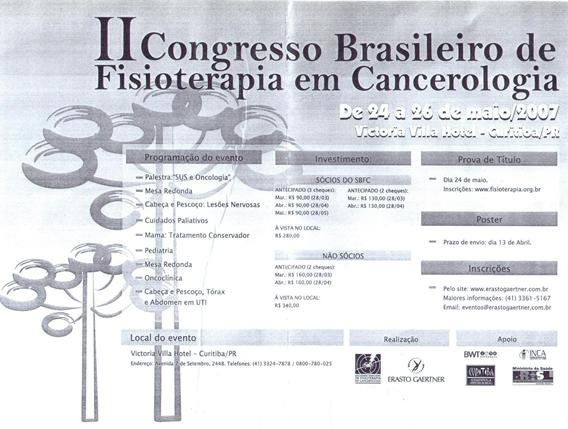 II CONGRESSO BRASILEIRO DE FISIOTERAPIA EM CANCEROLOGIA